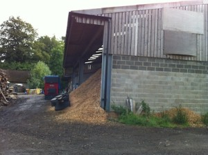 The Wood fuel store at Hever Castle where wood is chipped and placed in the hopper