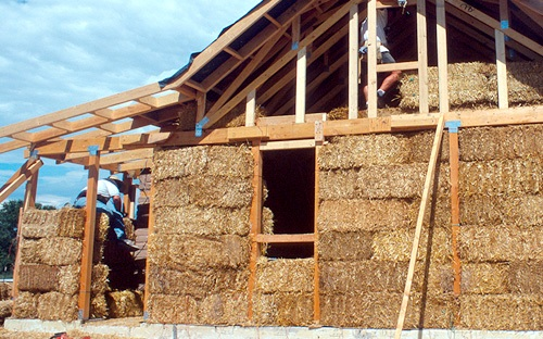 Straw-bale construction uses bales of straw (commonly wheat, rice, rye and oats straw) as structural elements, building insulation, or both.